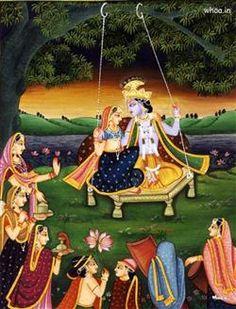 Radhe Krishna Swinging Between Gopis, Krishna, Radha, Radha Krishna HD Wallpapers, Paintings, And Photoshootes