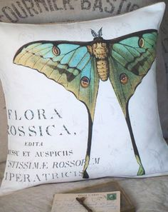Cotton and Burlap Pillow Coverthe Moth by JolieMarche on Etsy, $35.00