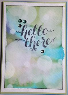 I'm loving this technique, it's called Bokeh (bow-ka) I think it looks like bubbles. Watercolor Projects, Watercolor Cards, Pin Card, Bokeh Background, Stenciling, Card Maker, Cool Cards, White Ink, Christmas Projects