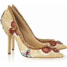 Dolce & Gabbana Embellished ayers-trimmed embroidered pumps