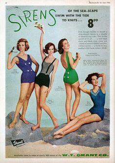 "Sirens swimwear ad ""Mademoiselle"" magazine June 1961 #vintage #sixties #swimsuit #mod"