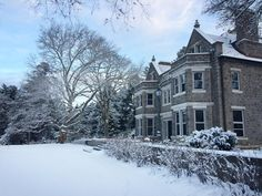 The main house under a blanket of snow at Stoneleigh: a natural garden. Photo from Zinnia Cheetham, staff member. Natural Garden, Zinnias, Maine House, Acre, Home And Family, January, Snow, Blanket, Winter
