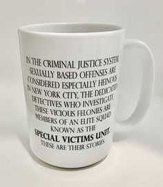 "Coffee Mug ""Law & Order SVU"" / TV Show Intro / Law and Order / Funny Mug / Coffee Mug Gift /  Special Victims Unit / Benson / Stabler by BelloMacello on Etsy https://www.etsy.com/listing/542069086/coffee-mug-law-order-svu-tv-show-intro"