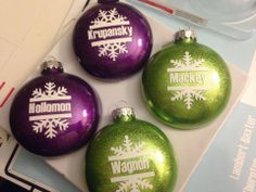 glitter ornaments and vinyl