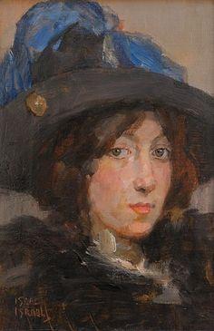 Isaac Israëls - Portret van een jonge vrouw met hoed met veren