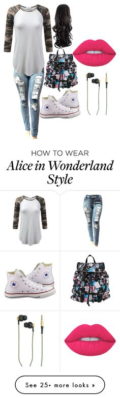 """Untitled #49"" by alexialimaafonso on Polyvore featuring Converse, Disney, Kreafunk and Lime Crime"