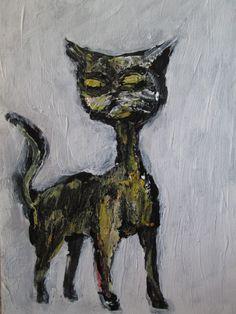"""1000 CATS  #953 original art.  jack larson 3.5""x2.5"" art card ACEO folk art"