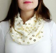 Sequin Scarf Fashion Scarf Metallic Dot Infinity by HeraScarf