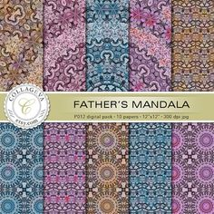 "Father's Mandala, Digital Paper Pack, 10 printable sheets, 12""x12"" INSTANT DOWNLOAD, pale purple blue brown large kaleidoscope pattern by collageva"