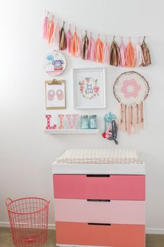 DIY Pink Ombre Changing Table - all this took was a few coats of paint!