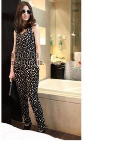 Stylish Zipper Front Dots Sleeveless Jumpsuit Black HD12062422http://www.clothing-dropship.com