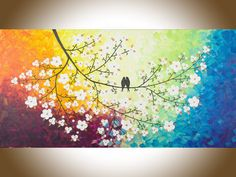 """Rainbow color art Original oil painting birds art white flower tree copper leaves Wall art wall decor canvas """"Color of love """" by qiqigallery"""