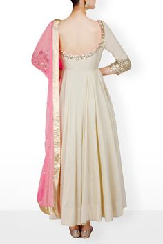 Suits, Beige anarkali with pink dupatta Indian Long Dress, Indian Dresses, Indian Outfits, Kurti Neck Designs, Kurti Designs Party Wear, White Anarkali, Simple Anarkali Suits, Anarkali Gown, Saree