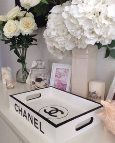Made to order ~ Replica tray with Chanel branding. Bring a touch of luxury living to your home with this replica designer tray. x x Luxury Living: Made to order ~ Replica tray with Chanel branding…. Chanel Dekor, Chanel Lamp, Home Decor Bedroom, Diy Home Decor, Bedroom Ideas, Chanel Bedroom, Decoration Chic, Luxury Decor, Awesome Bedrooms