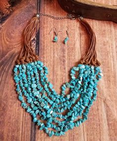 COWGIRL Bling Southwest Turquoise layered chips Western Gypsy NECKLACE SET #BAHARANCH