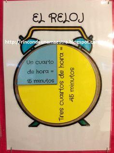 Hoy os enseño un material que he preparado para facilitar a mis alumnos el aprendizaje de las horas, tanto en el reloj analógico como en el ... Teaching Time, Teaching Tools, Math For Kids, Fun Math, Maths, Classroom Clock, Bilingual Education, Creative Teaching, Kids And Parenting