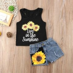 Baby Girl Two Pieces Sunflower Print Summer Outfits Sets Toddler Girl Round Neck Sleeveless Ruffles Tops+Shorts 0-18M
