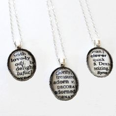I love these necklaces. I have no idea which word I would choose, and I never remember to wear the jewelry I already have. But I still love these necklaces.