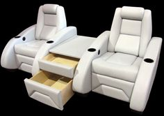 nice concept (but in black)... Home Theater Seating Projects | Home Theater Chairs. http://www.elitehometheaterseating.com/gallery/