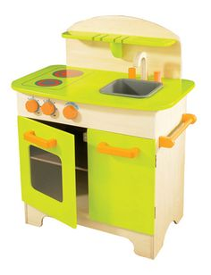 "EDUCO GOURMET CHEF KITCHEN | TODDLER:   This gender-neutral play kitchen features realistic details, including a see-through oven window, big orange knobs to turn the (fake) burners ""on"" or ""off,"" and a sink for washing dishes. This is one toy your budding chef will hold on to!   Get it from Moolka, $129.99 »"