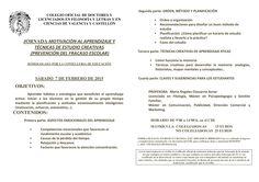 Jornada MOTIVACIÓN AL APRENDIZAJE Y TÉCNICAS DE ESTUDIO CREATIVAS (PREVENCIÓN DEL FRACASO ESCOLAR)