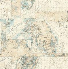 Wallpaper Designer Nautical Seven Seas Map Maps Light Blue on Light Beige for sale online Nautical Wallpaper, Travel Wallpaper, Of Wallpaper, Designer Wallpaper, Pattern Wallpaper, Powder Room Wallpaper, Nautical Chart, Blue Wallpapers, Sea And Ocean
