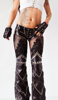 Image of TOXIC VISION leather n lace drainpipe pants