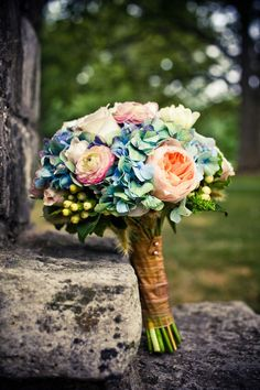 Beautiful blue and pink bouquet. Such a great idea to take a pic of your bouquet Wedding Events, Our Wedding, Dream Wedding, Weddings, Trendy Wedding, Spring Wedding, Wedding Bouquets, Wedding Flowers, Bride Flowers