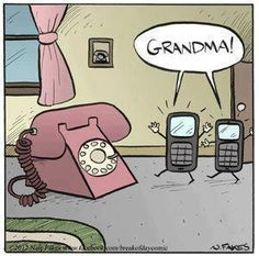 This made me laugh because we still have a landline and several dial up telephones. LOL