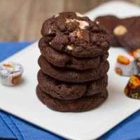 The Ultimate Peanut Butter Cup Brownie Cookies: Rich, fudgy, brownie-like chocolate cookies stuffed with melty peanut butter cups!