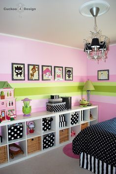 colorful little girl's bedroom with black and white accents (black and white polka dots and stripes)