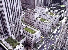 Rockefeller Center, NYC, by various architects.  Art Deco.  Group of buildings designed to function together.