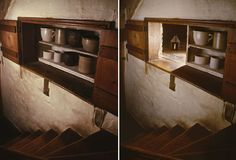 Underground Railroad Hiding Space, sliding shelves in Gettysburg, Pennsylvania home. Slavery in America Photos