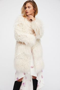 c36a6a9c31b8 Zadig & Voltaire Ecru Lamy Faux Fur Coat at Free People Clothing Boutique  Trending Topic,