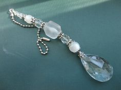 white crystal ceiling fan pull, light pull or sun catcher.  White beaded ceiling fan pull, beaded light pull, ball chain pull.