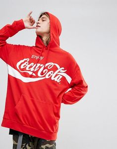 Bershka Hoodie With Coca Cola Slogan In Red - Red