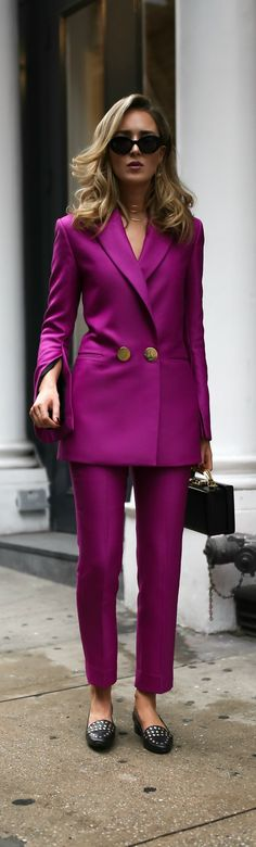 Fall/Winter Trend Memo Day 1: Power Dressing // Magenta double breasted blazer, magenta slim fit pants, black embellished loafers, leather box bag, gold front hoop earrings, multi-row choker, large black sunglasses {Petar Petrov, Mark Cross, DVF, trend memo, fashion week}