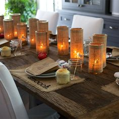 rustic country charm - find these burlap covered cylinders here!