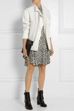 Chloé jacket, dress and shoes, Victoria Beckham clutch
