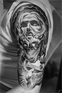 Arm dove themed sleeve by Noah Tattoo Jesus Tattoo Sleeve, Skull Sleeve Tattoos, Best Sleeve Tattoos, Top Tattoos, Tattoo Sleeve Designs, Body Art Tattoos, Hand Tattoos, Cute Finger Tattoos, Cool Forearm Tattoos