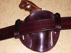 """Silver Dollar Pancake - Leather Concealment Holster This is a scaled down Sourdough Pancake, leather concealment holster, designed for the smallest revolvers only (see drop down list for """"Gun Model""""). Designed to be worn strong side or crossdraw Bottom of holster is open to allow grit, fuzz, water, etc. to pass through Made with 3 belt slots, 1.75"""" wide Can be worn inside the waistband or outside the waistband For deeper concealment & quick on off convenience, get t..."""