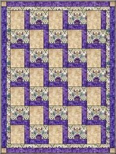 Sewing Block Quilts Stepping Up - Free 3 Yard Quilt Pattern by lucy Quilt Baby, Lap Quilts, Scrappy Quilts, Amish Quilts, Big Block Quilts, Jellyroll Quilts, Quilting For Beginners, Quilting Tutorials, Quilting Projects