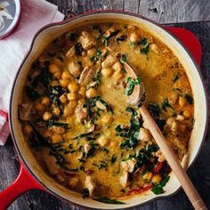 Green Chickpea and Chicken Coconut Curry  Delicious!! American measurements, adjusted chilli paste to 2 Australian teaspoons, nice amount of heat. Can tolerate longer cooking time, which allows sauce to thicken, 45 mins instead of 20. Used baby spinach, added at the last minute. Served with pita bread, crisped in the oven, then broken into pieces.