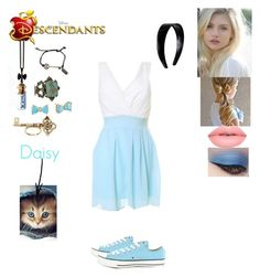 """""""Alison Liddell- Daughter of Alice Liddell (Daisy is the daughter of Dinah"""" by maxinehearts ❤ liked on Polyvore featuring Converse, Disney, Betsey Johnson, House of Harlow 1960, Lime Crime, disney, OC and Descendants"""