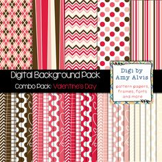 Digital Background - Scrapbook Pack - Color Combo - Valentine's Day, $
