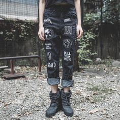 show your style. you will get noticed wearing these daring jeans! Dark Fashion, Grunge Fashion, Alternative Outfits, Alternative Fashion, Cool Outfits, Fashion Outfits, Womens Fashion, Grunge Girl, Fall Looks
