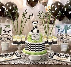 Panda Birthday Cake, Birthday Sweets, Girls Birthday Party Themes, 1st Birthday Cakes, Baby First Birthday, Panda Themed Party, Panda Party, Baby Shower Cakes, Baby Boy Shower