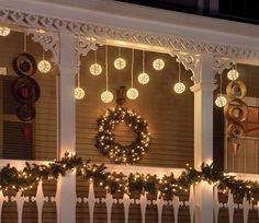 Christmas: love this - garland across the railing - want to replicate it!