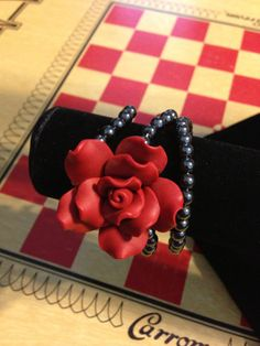 Wire Wrapped Red Rose and Skull Bracelet  Day by VintageBellissima, $15.00