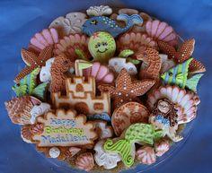 Mermaid/ocean/beach theme cookies [minus the happy birthday cookie]